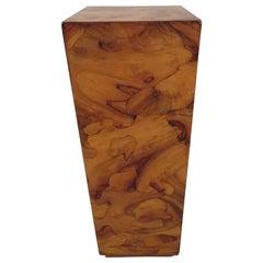 Milo Baughman Style Lane Burled Olivewood Pedestal, Mid-Century Modern