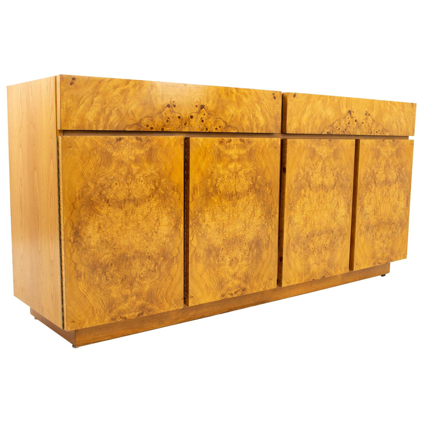 Milo Baughman Style Lane Midcentury Burl Wood and Oak Sideboard Credenza