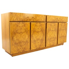 Milo Baughman Style Lane Midcentury Burl Wood and Oak Sideboard Credenza