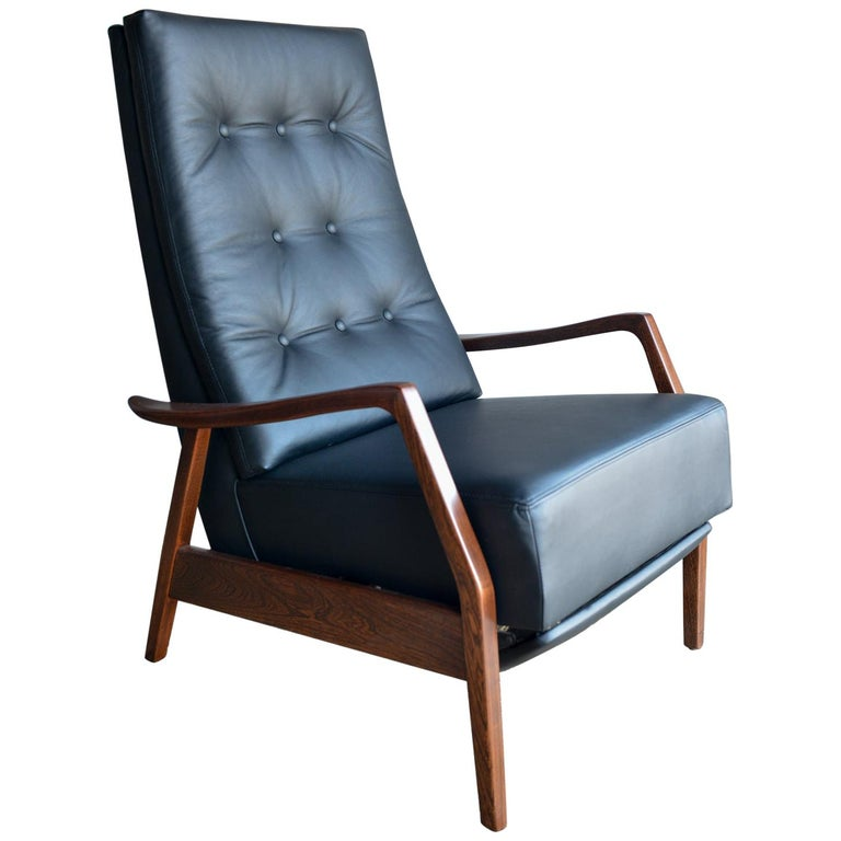 Prime Milo Baughman Style Leather Lounge Chair And Recliner Circa 1965 Spiritservingveterans Wood Chair Design Ideas Spiritservingveteransorg