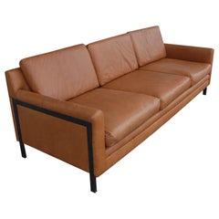 Milo Baughman Style Leather Sofa