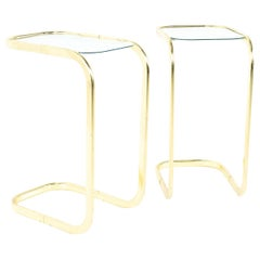 Milo Baughman Style MCM Brass and Glass Cantilever Side End Tables, Pair