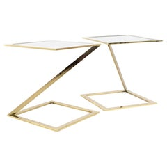 Milo Baughman Style MCM Brass and Glass Z Side End Accent Tables, a Pair