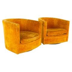 Milo Baughman Style Mid Century Barrel Swivel Lounge Chairs, a Pair
