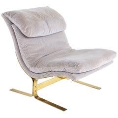 Milo Baughman Style Mid Century Brass Cantilever Slipper Lounge Chair