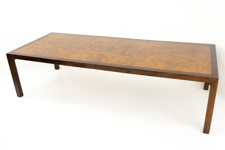 Milo Baughman Style Midcentury Burl Wood Dining Table For Sale 4