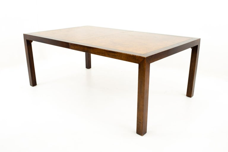 Mid-Century Modern Milo Baughman Style Midcentury Burl Wood Dining Table For Sale