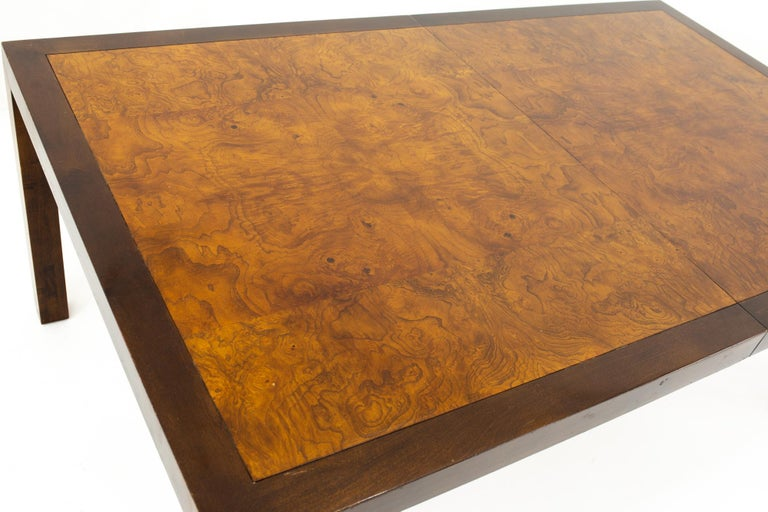 American Milo Baughman Style Midcentury Burl Wood Dining Table For Sale