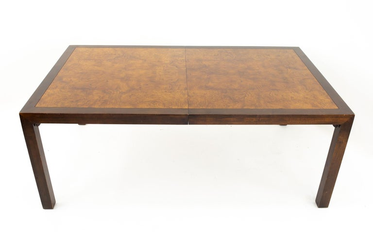 Milo Baughman Style Midcentury Burl Wood Dining Table In Good Condition For Sale In La Grange, IL
