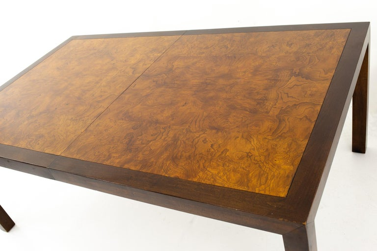 Late 20th Century Milo Baughman Style Midcentury Burl Wood Dining Table For Sale