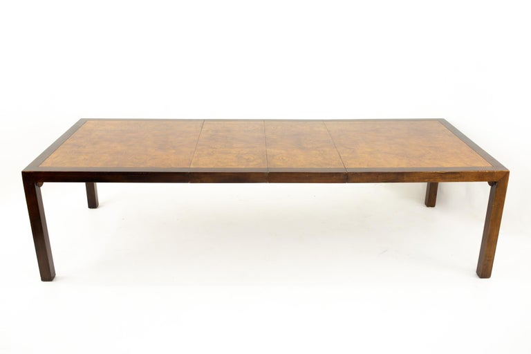 Milo Baughman Style Midcentury Burl Wood Dining Table For Sale 1