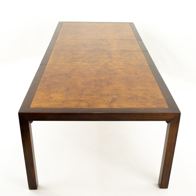 Milo Baughman Style Midcentury Burl Wood Dining Table For Sale 2