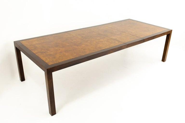 Milo Baughman Style Midcentury Burl Wood Dining Table For Sale 3