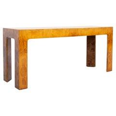 Milo Baughman Style Mid Century Burlwood Foyer Console Sofa Table