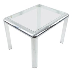 Milo Baughman Style Mid Century Chrome and Glass Table