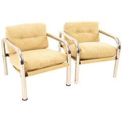 Milo Baughman Style Mid Century Chrome Lounge Chairs, Pair