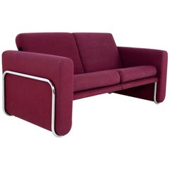 Milo Baughman Style Mid Century Cranberry Purple and Chrome Loveseat Setee Sofa