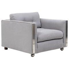Milo Baughman Style Mid Century Grey and Chrome Frame Armchair
