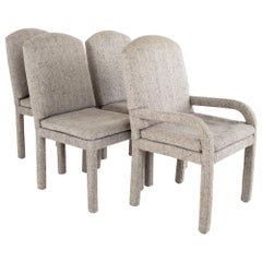 Milo Baughman Style Mid Century Grey Parsons Chairs, Set of 4