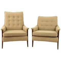 Milo Baughman Style Mid Century His and Her's Lounge Chairs