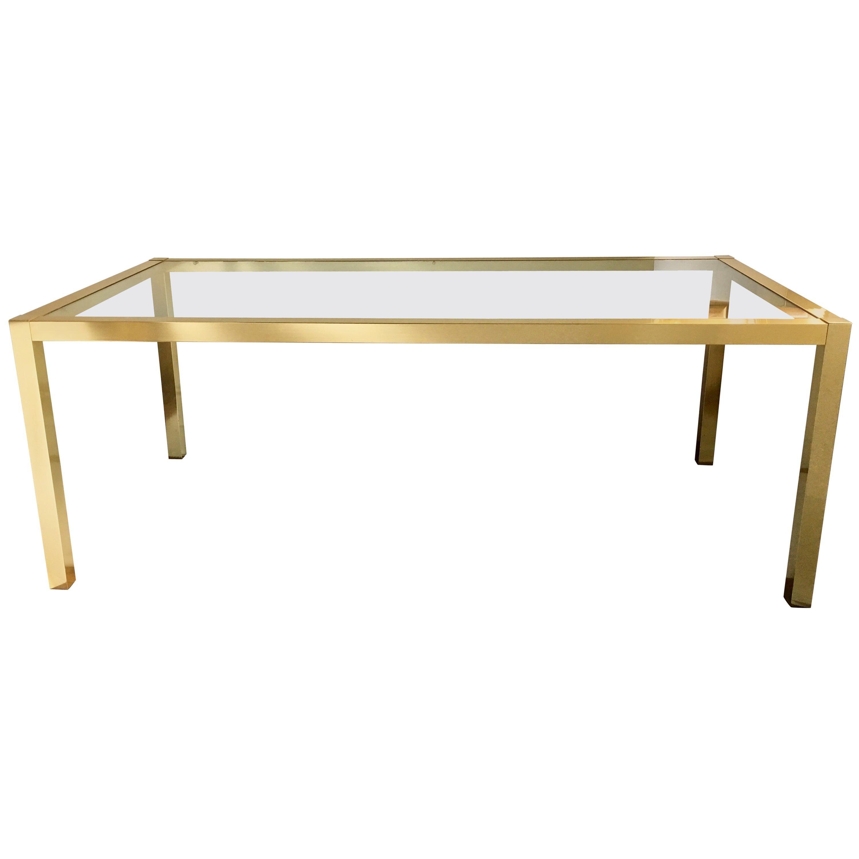 Milo Baughman Style Mid-Century Modern Brass & Glass Parsons Dining Table, 1970s