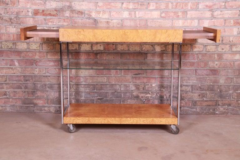 Milo Baughman Style Mid-Century Modern Burl Wood and Chrome Bar Cart by Lane 4