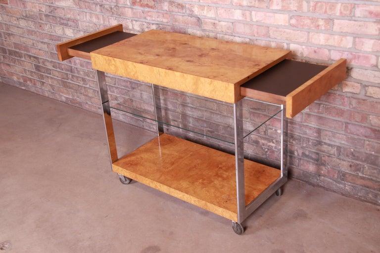 Milo Baughman Style Mid-Century Modern Burl Wood and Chrome Bar Cart by Lane 5