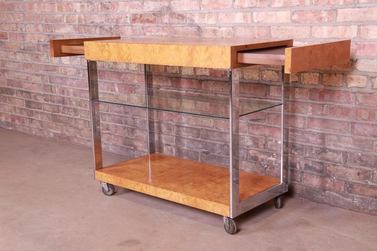 Milo Baughman Style Mid-Century Modern Burl Wood and Chrome Bar Cart by Lane 6