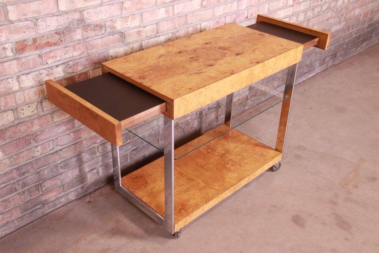 Milo Baughman Style Mid-Century Modern Burl Wood and Chrome Bar Cart by Lane 7