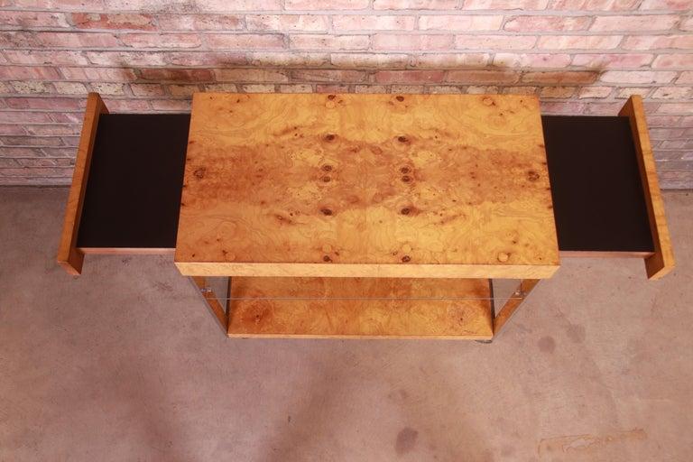 Milo Baughman Style Mid-Century Modern Burl Wood and Chrome Bar Cart by Lane 8