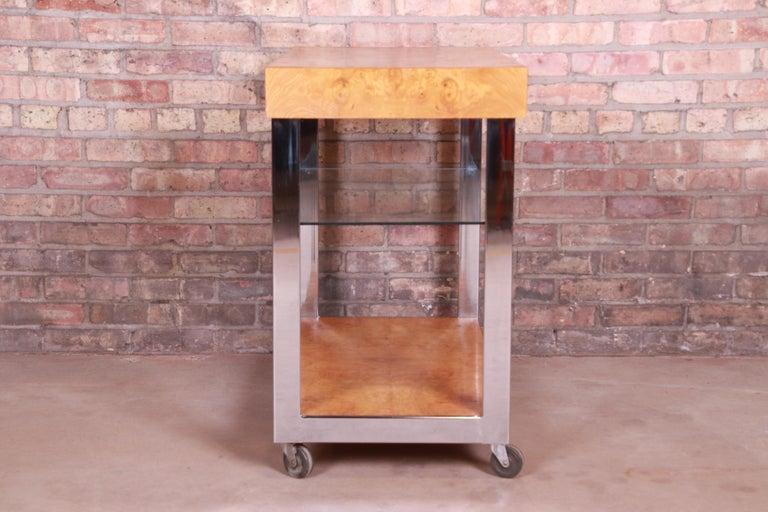 Milo Baughman Style Mid-Century Modern Burl Wood and Chrome Bar Cart by Lane 9
