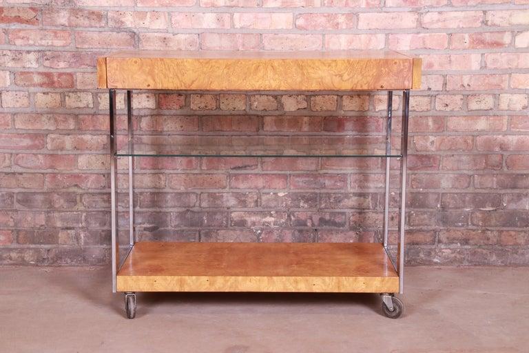 Milo Baughman Style Mid-Century Modern Burl Wood and Chrome Bar Cart by Lane 10