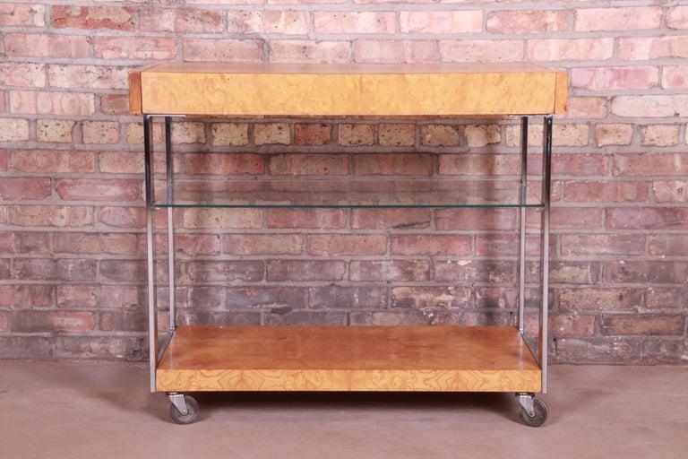 American Milo Baughman Style Mid-Century Modern Burl Wood and Chrome Bar Cart by Lane