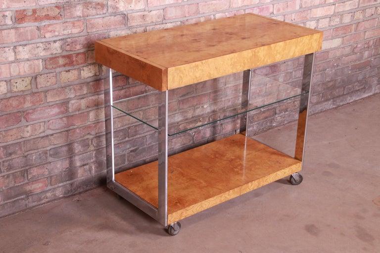 Late 20th Century Milo Baughman Style Mid-Century Modern Burl Wood and Chrome Bar Cart by Lane