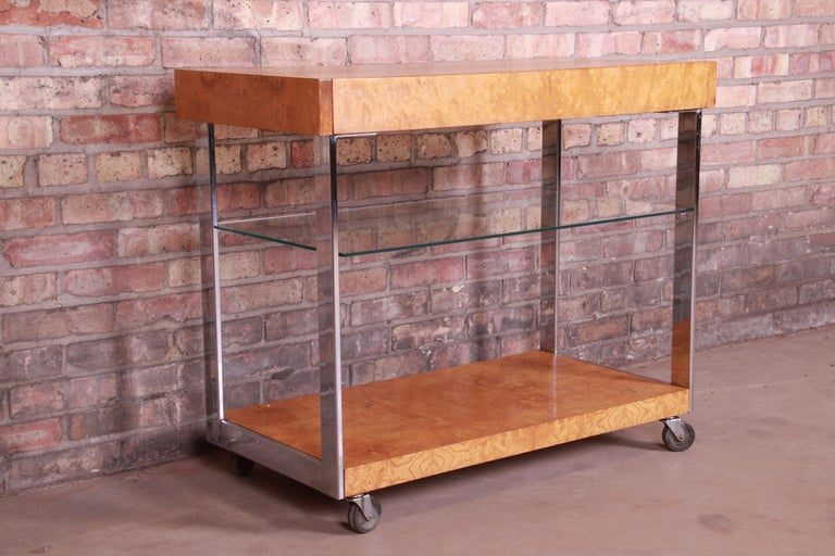 Glass Milo Baughman Style Mid-Century Modern Burl Wood and Chrome Bar Cart by Lane