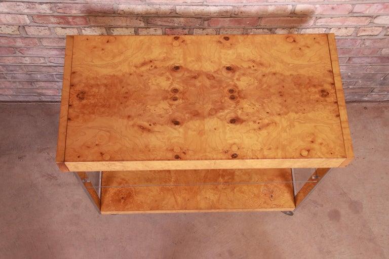Milo Baughman Style Mid-Century Modern Burl Wood and Chrome Bar Cart by Lane 1