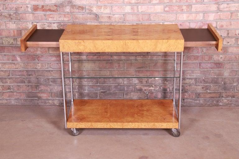 Milo Baughman Style Mid-Century Modern Burl Wood and Chrome Bar Cart by Lane 3