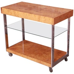 Milo Baughman Style Mid-Century Modern Burl Wood and Chrome Bar Cart by Lane