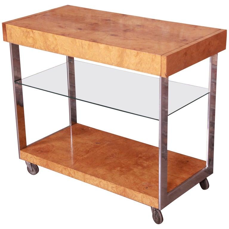 Milo Baughman Style Mid-Century Modern Burl Wood and Chrome Bar Cart by Lane