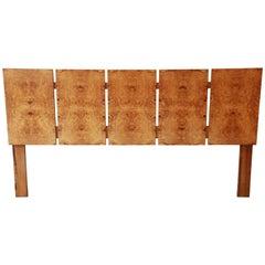 Milo Baughman Style Mid-Century Modern Burl Wood King-Size Headboard