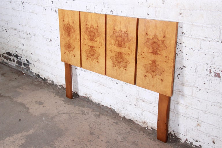 Milo Baughman Style Mid-Century Modern Burl Wood Queen Size Headboard In Good Condition For Sale In South Bend, IN