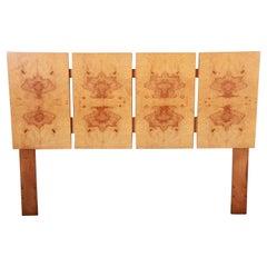 Milo Baughman Style Mid-Century Modern Burl Wood Queen Size Headboard