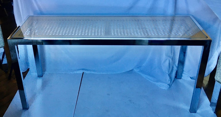 Late 20th Century Milo Baughman Style Mid-Century Modern Cane Top Glass and Chrome Console Table For Sale