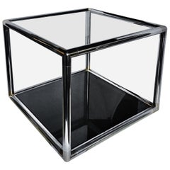 Milo Baughman Style Mid-Century Modern Metal and Glass Square Coffee Side Table