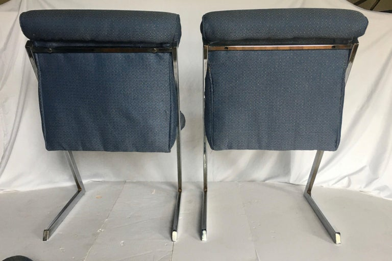 Milo Baughman Style Mid-Century Modern Z Chrome Cantilever Side Dining Chairs For Sale 1