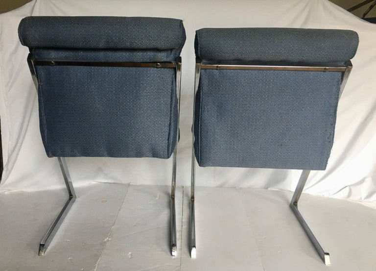 Milo Baughman Style Mid-Century Modern Z Chrome Cantilever Side Dining Chairs For Sale 4