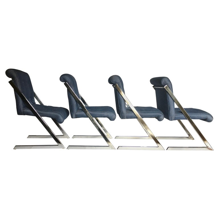 Milo Baughman Style Mid-Century Modern Z Chrome Cantilever Side Dining Chairs For Sale