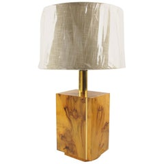 Milo Baughman Style Mid-Century Modernist Burl Wood and Brass Table Lamp