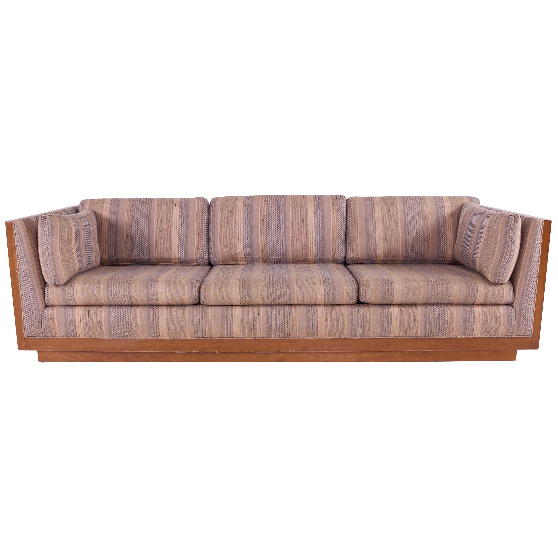 Milo Baughman Style Mid Century Walnut Floating Case Sofa