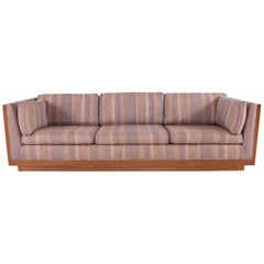 Milo Baughman Style Mid Century Walnut Floating Case Sofa